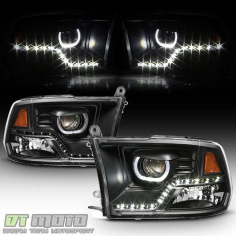 Black 2009 2017 Dodge Ram 1500 2500 3500 Drl Led Projector Halo Headlights Lamps
