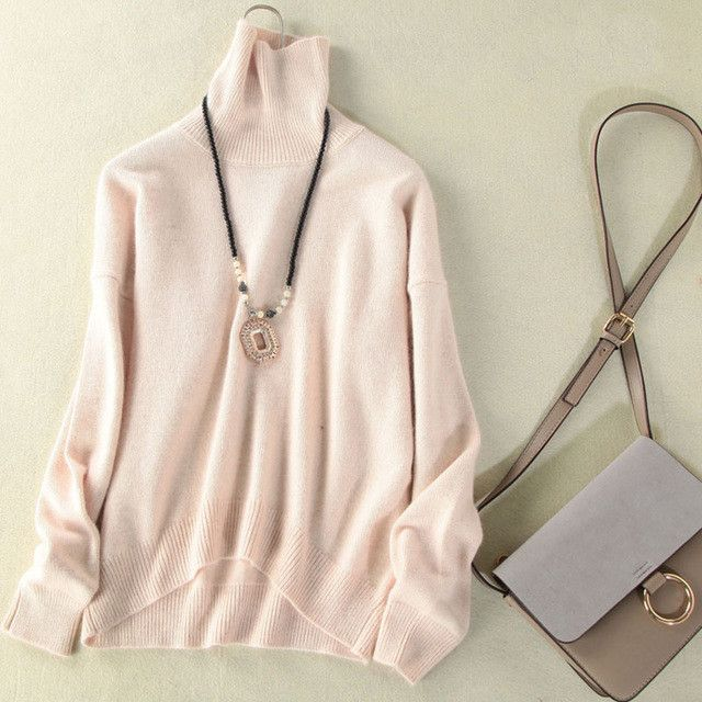 Women Cashmere Sweater Runway Winter Spring Casual Pure Mink Cashmere Turtleneck Thicken Knitted Pullover Pulls Femme