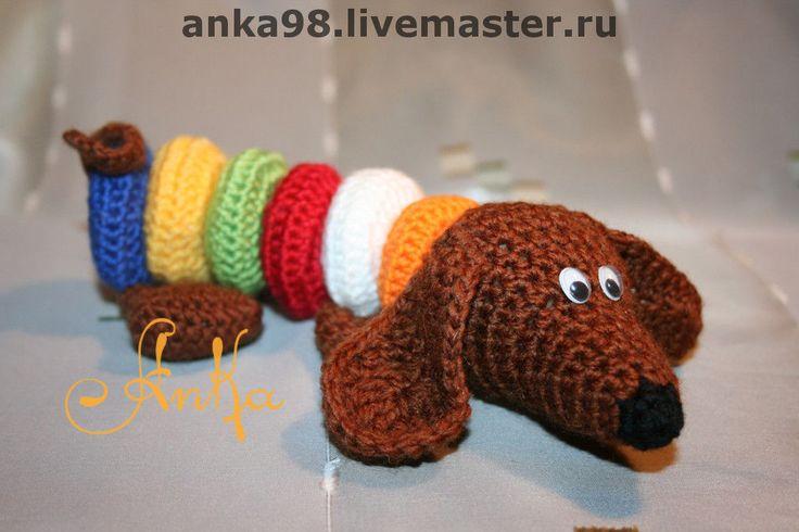 Купить Разноцветный пёс. - такса, собака, Вязание крючком, вязаная игрушка, изучаем цвета, щенок