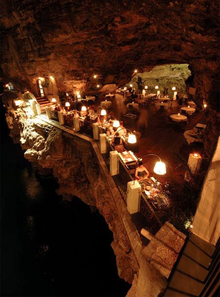 This Cave restaurant is located underneath the Grotta Palazzese hotel in a small town of Polignano a Mare, Italy.