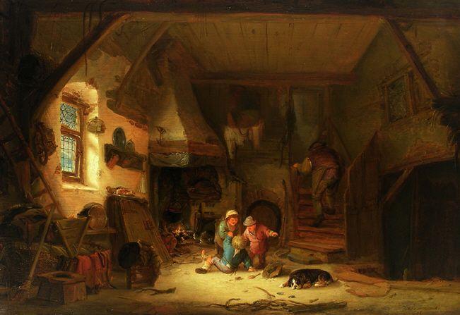 Isaac van Ostade - Boereninterieur met spelende kinderen