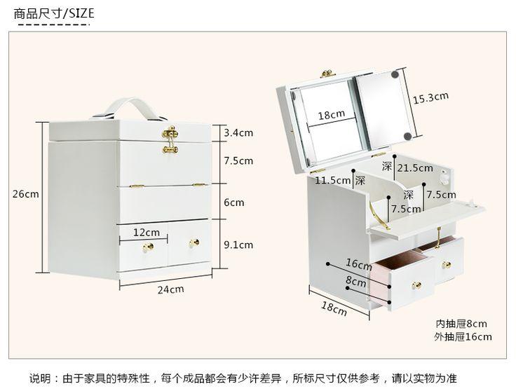 Твердая древесина косметический ящик для хранения деревянный большой белый косметический случай с зеркалом крышка Корея топ макияж туалетный ящик шкатулки купить на AliExpress