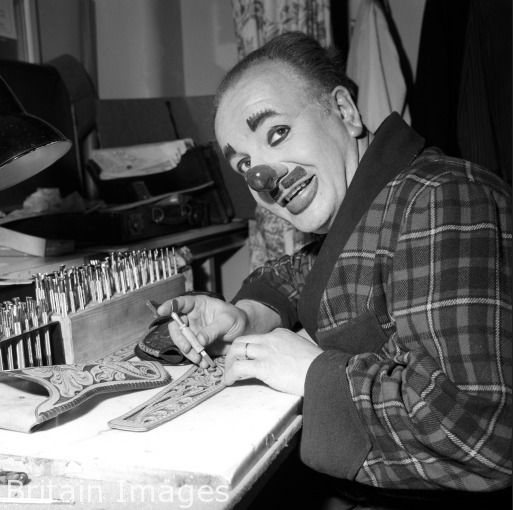 Charlie Cairoli leather carving in between appearances at The Blackpool Tower Circus, 1961