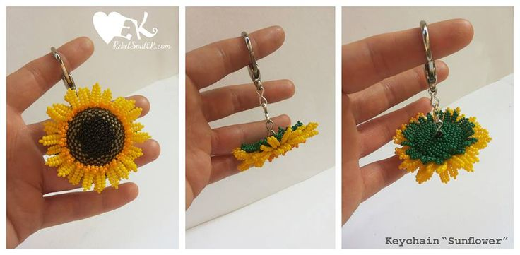 Sunflower flower yellow green beadweaved beaded RebelSoulEK keychain