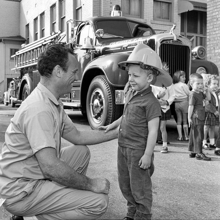 Vintage Photo 1968 Fireman puts Helmet on Kid Mack Etsy
