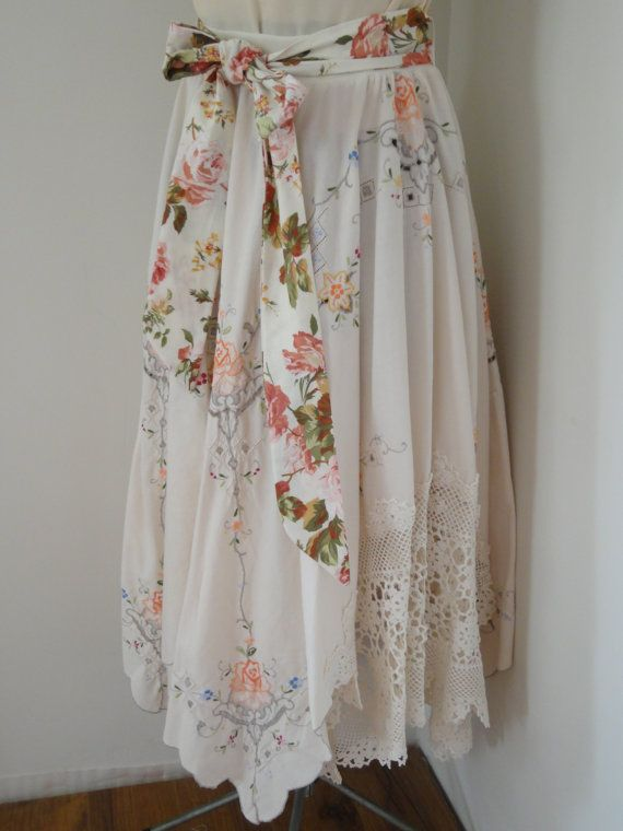 love this vintage tablecloth upcycling creativity