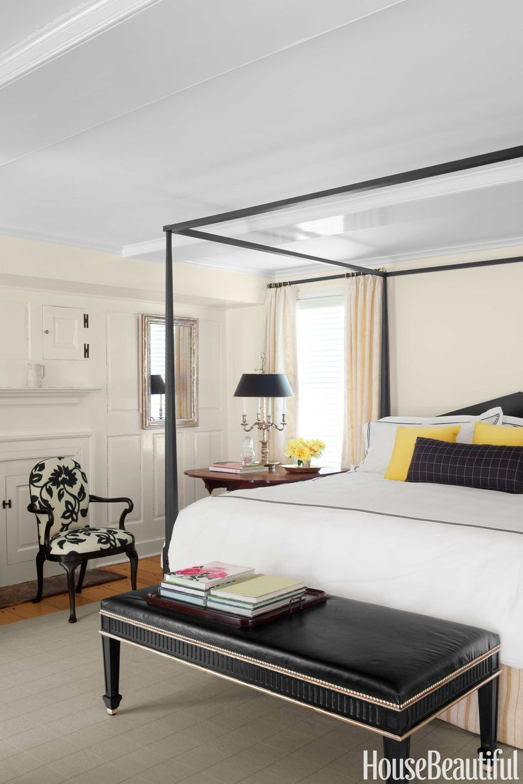 The Charleston Southern Colonial Post And Beam Traditional Bedroom - How to update neutrals with this eye catching accent color