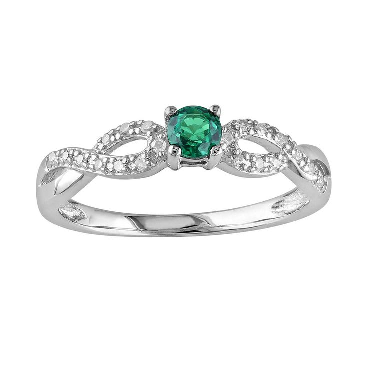 Sterling Silver Lab-Created Emerald and Diamond Accent Infinity Ring, Women's, Size: 8, Green