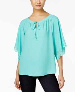 Ny Collection Petite Laser-Cut Peasant Top - Blue P/XL
