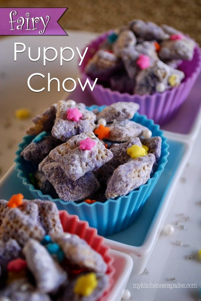 Fairy Puppy Chow - My Kitchen Escapades (this is an excellent way to color your kids' chow. She uses white chocolate and butter to mix and then colors the chocolate with purple for her daughter. Use sprinkles to add in the fun!!)