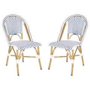 With the Toulouse 2-Piece Wicker Patio Side Chair, you can have the seats of your favorite French street café at your home. The white wicker chairs have been woven with a dash of color that adds a contemporary flair to your outdoor wicker patio furniture. This sturdy pair of chairs features a weather resistant, powder coated finish. You'll be staying home for brunch now that you have the Toulouse 2-Piece Wicker Patio Side Chair to complete your wicker patio set.