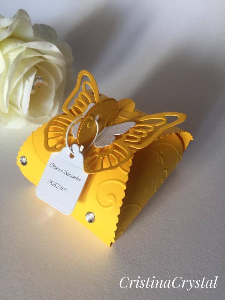 Bomboniera scatola portaconfetti con farfalla .Scatola bomboniera matrimonio porta confetti con farfalla : Bomboniere di cristinacrystal