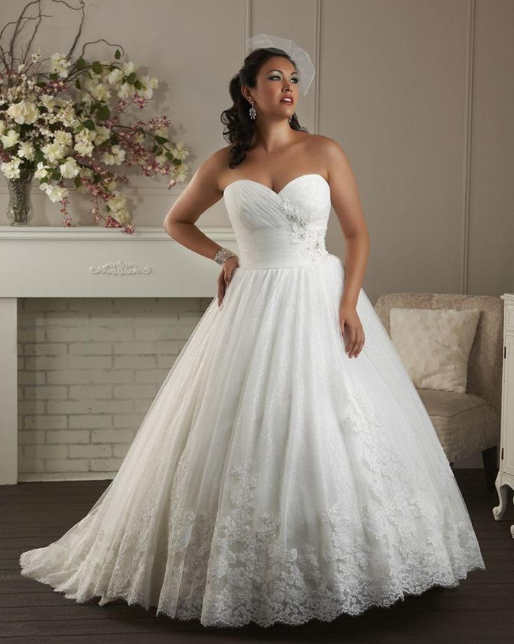 Ball gown white empire waist appliqued custom made 2014 for Wedding dresses for thick girls