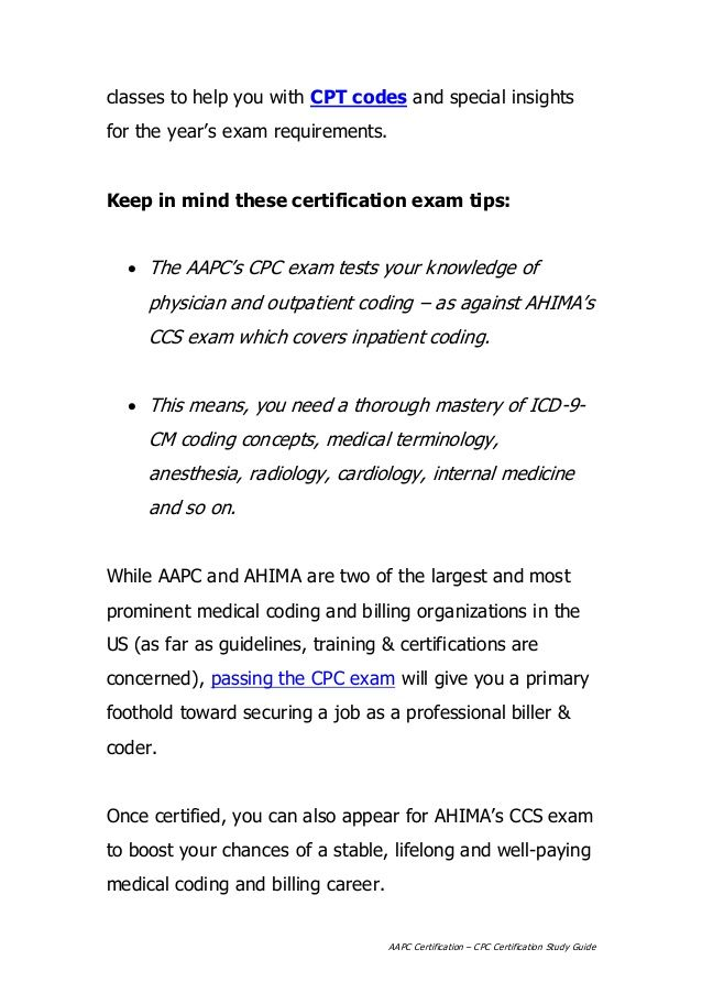 13 best cpc exam help images on pinterest medical coder aapc certification centers around the flagship cpc certification exam just as ahima has the ccs certification passing the cpc exam is an important step fandeluxe Images