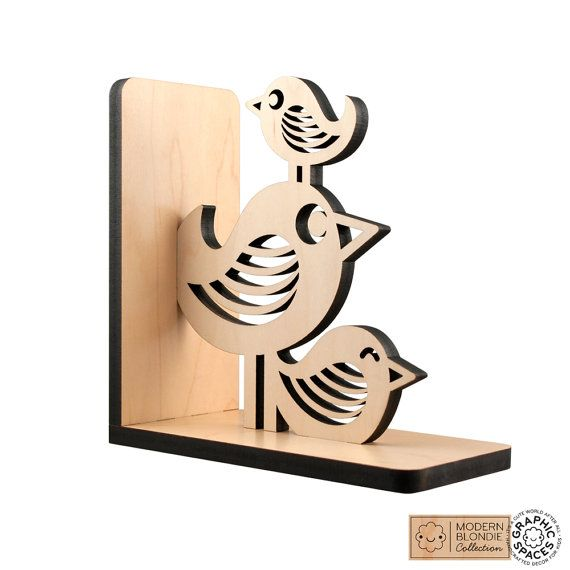 Bird Stack Wood Bookend Modern Baby Nursery by graphicspaceswood, $48.00