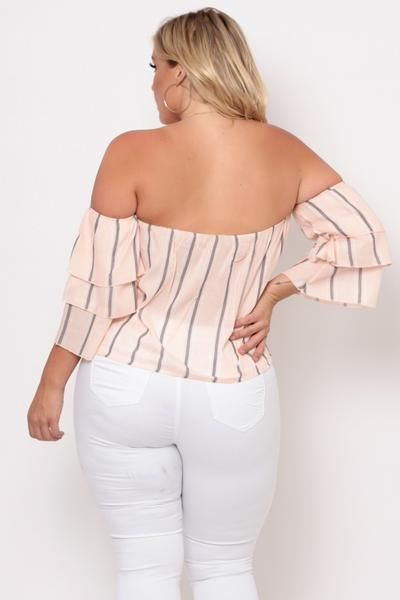 Plus Size Off The Shoulder Stripe Top - Peach