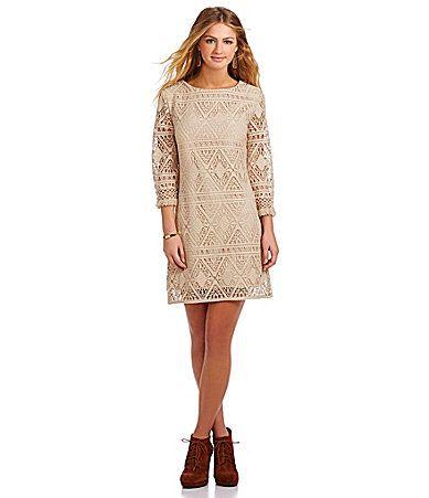 Jodi Kristopher 34 Bell Sleeve Lace Dress #Dillards