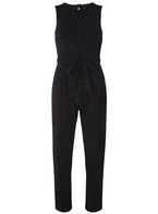 Womens Black Glitter Jumpsuit- Silver