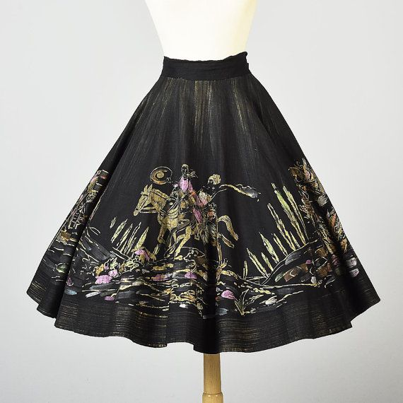 Large 1950s Mexican Circle Skirt Hand Painted Scenic Full Circle Skirt. Vintage Fashion, Vintage Clothing, Women's Fashion StyleandSalvage