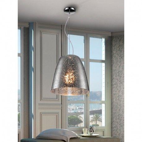 Lámpara realizada en metal acabado cromo. Tulipa de cristal soplado en color cromo con decoración de moteado transparente.
