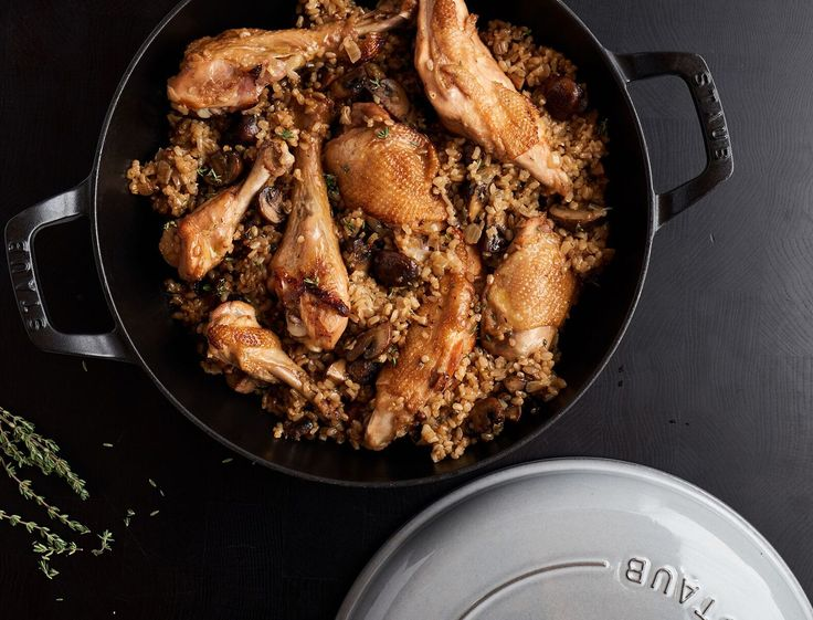 """A lightened-up version of a classic recipe from """"The I Hate to Cook Book,"""" this dish is hearty, comforting, and super healthy all at the same time. Tender chicken, incredibly flavorful rice, and seasonal mushrooms combine to make an easy dinner the whole family will love."""