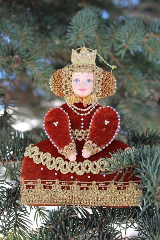 """Купить Новогодняя игрушка """"Принцесса Анна"""" - ярко-красный, новогодние игрушки, ручная авторская работа"""