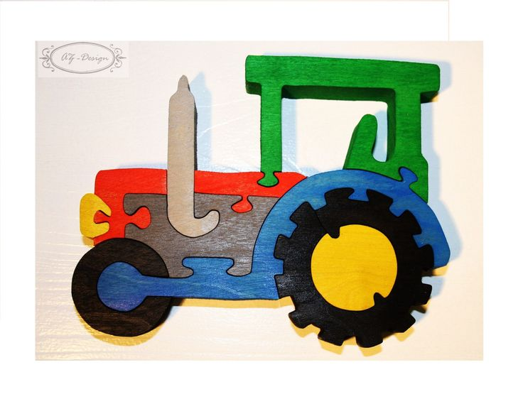 Puzzle en bois, tracteur, voiture, ferme, village, jouet enfant : Jeux, jouets par az-design
