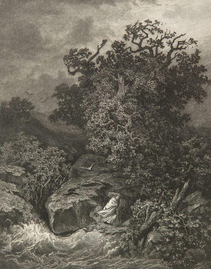 Julius Mařák | V bouři (Sturmbewegt) (1877–1878), etching, paper, 26,4 × 26,0 cm