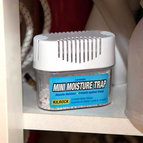 CARASELLE mini moisture trap :  Absorbs moisture & humidity Protects against damp Helps prevent damp & mildew damage to walls & fabrics Works immediately  http://www.caraselledirect.com/_/mini_moisture_trap_with_lavender_fragrance_95_x_45_x_80_mms.2084-1