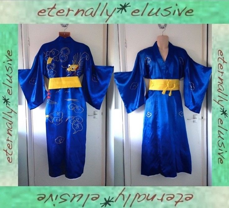 "Old Vintage Traditional Japanese Kimono Robe Gold Dragon Embroidery Obi Men L52"" 135.00 FPP"