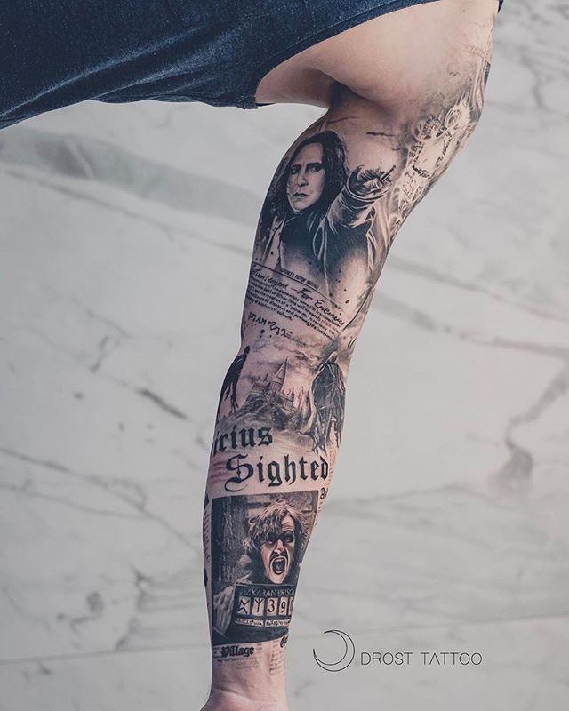 Harry Potter Sleeve By Drosttattoo From Aarhus Denmark Denmarktattoo Aarhustattoo Harrypot Harry Potter Tattoo Sleeve Harry Tattoos Harry Potter Tattoos