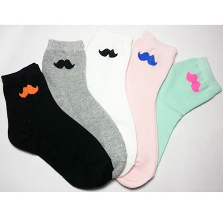 New 2 pairs Cotton Cute Women and Girls's Mustache fashion Color socks AllSeason #TC #Fashioncasual
