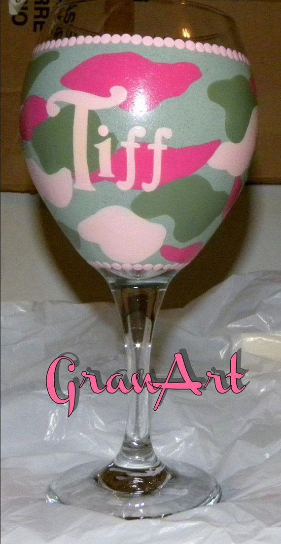 Camo Pink Wine Glass Pink Camo Camo Party Favors Texas by GranArt