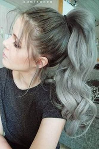 Clip in Ponytail Human Hair Extensions Grey Solid Color ...