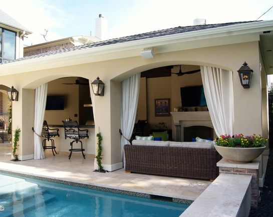 Check out this beautiful poolside patio/cabana by Texas Custom Patios