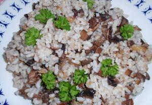 Rýži uvaříme dle návodu na obalu. Po uvaření jí smícháme s dušenou hlívou, kterou si připravíme následně: Na oleji nebo másle a jemně pokrájeném špek...