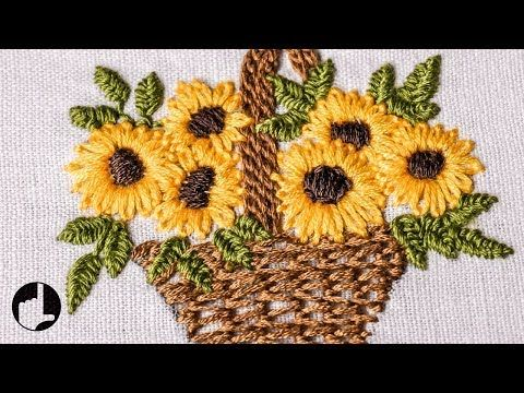 Embroidery Flower Basket | Stitch design for baby cloths | HandiWorks #47 - YouTube