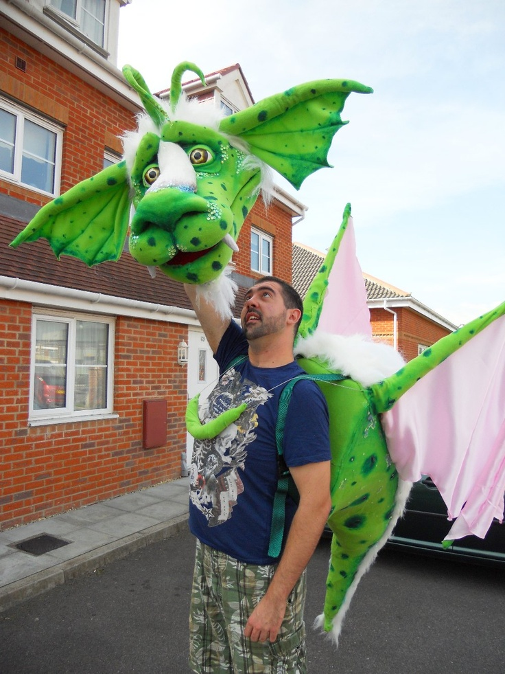 Christopher Barlow Paper Moth - Dragon puppet for wizard theatres tour of the reluctant dragon,