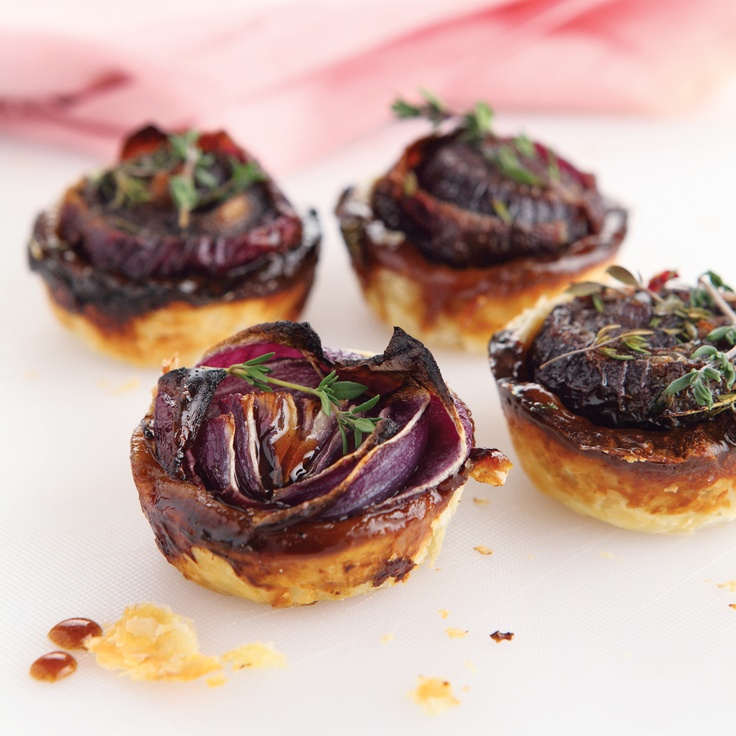 Caramelised Onion and Blue Cheese Tarts - a wonderful starter for any occasion on page 8 of #EffortlessEntertaining. Available from www.atv.co.za. #cooking #onion #cheese #tart