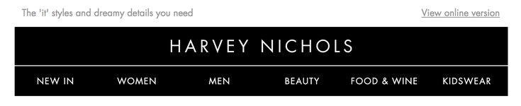 Harvey Nichols header email design, desktop , 2018