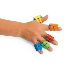 Five Ring Set  You'll want to include our new finger weights in your therapy practice. Wonderful for finger strengthening and providing kinesthetic and proprioceptive feedback to fingers. Finger Weights have an adjustable weighting system and can be used for keyboarding, low tone and low strength applications. Available in your choice of 5- or 10-ring sets. Each set includes a storage pouch, step-by-step instruction pamphlet and DVD.