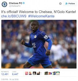 Chelsea signs France midfielder Kante from Leicester City for 30m