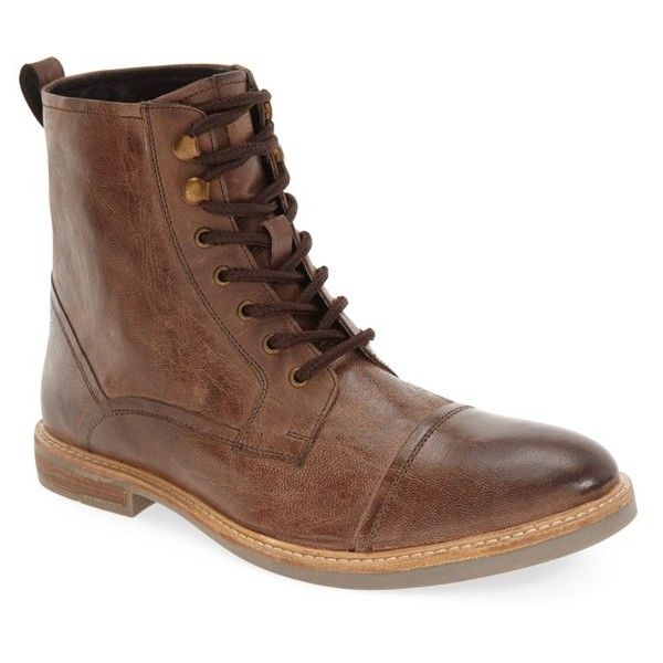 Men's Ben Sherman 'Luke' Cap Toe Boot ($140) ❤ liked on Polyvore featuring men's fashion, men's shoes, men's boots, brown leather, mens brown shoes, mens vintage boots, mens vintage leather shoes, mens brown boots and mens brown leather boots