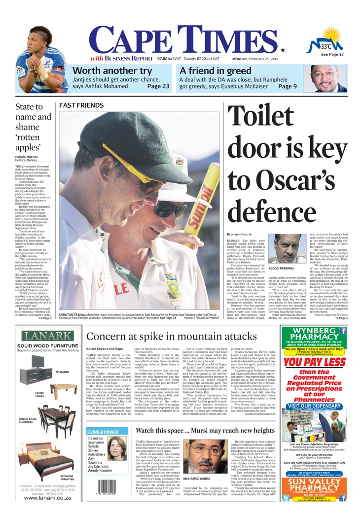 News making headlines:  Toilet door is key to Oscar's defence