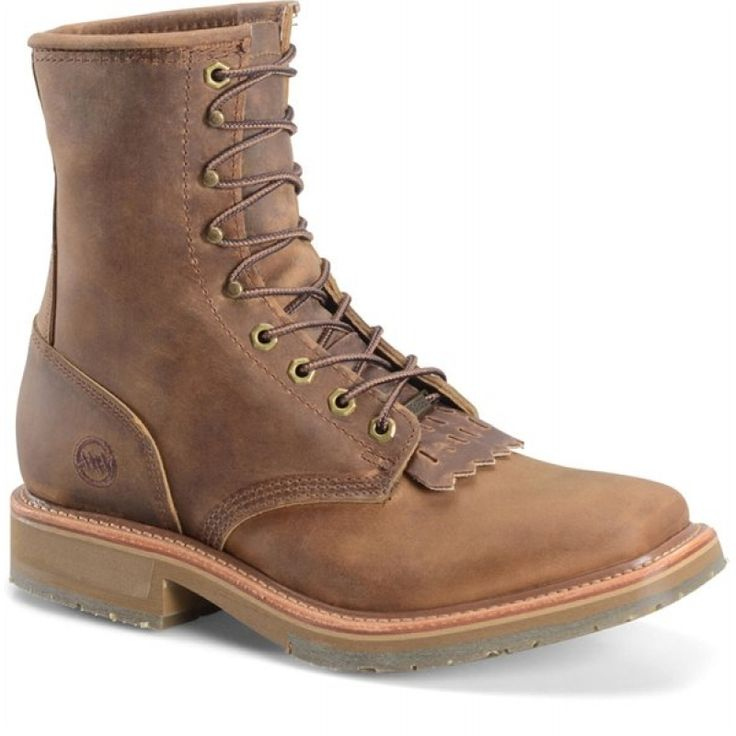 Double H Men S 7 Wide Square Toe Lacer Brown Dh9501