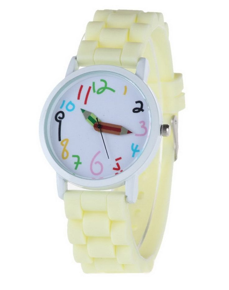 Happy Cherry Kids Candy Colors Rubber Band Quartz Wrist Watch Sports Watch for Students Beige. Large dial, clear shilly numbers, pencil pointer, candy-colored strap. Glass mirror, screw-down crown, stainless steel clasp. Mutiple corlors for your choice, fashionable sports watch for kid's school gift. Electric quartz movement. Life water resistant: withstands rain and splashes of water, but not wear it to take shower, swim, dive, etc.