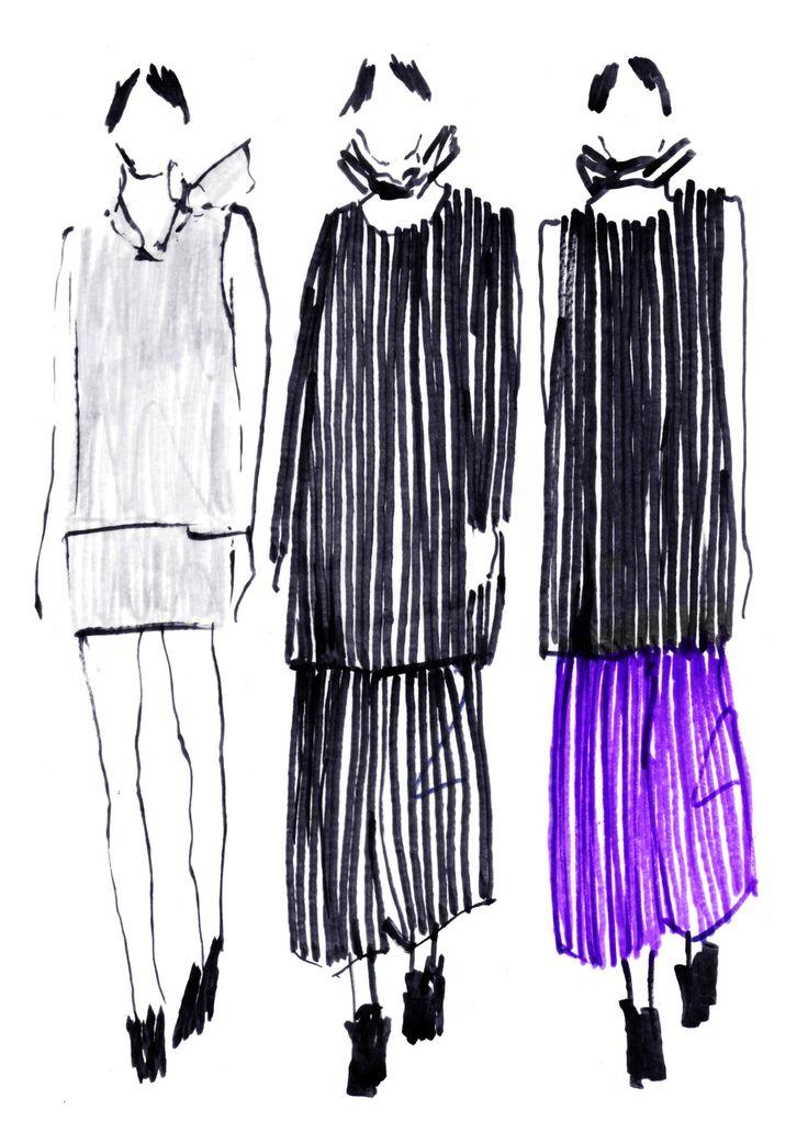 Croquis da coleção de João Melo Costa apresentados no âmbito do Portugal Fashion - Fashion Scout Londres
