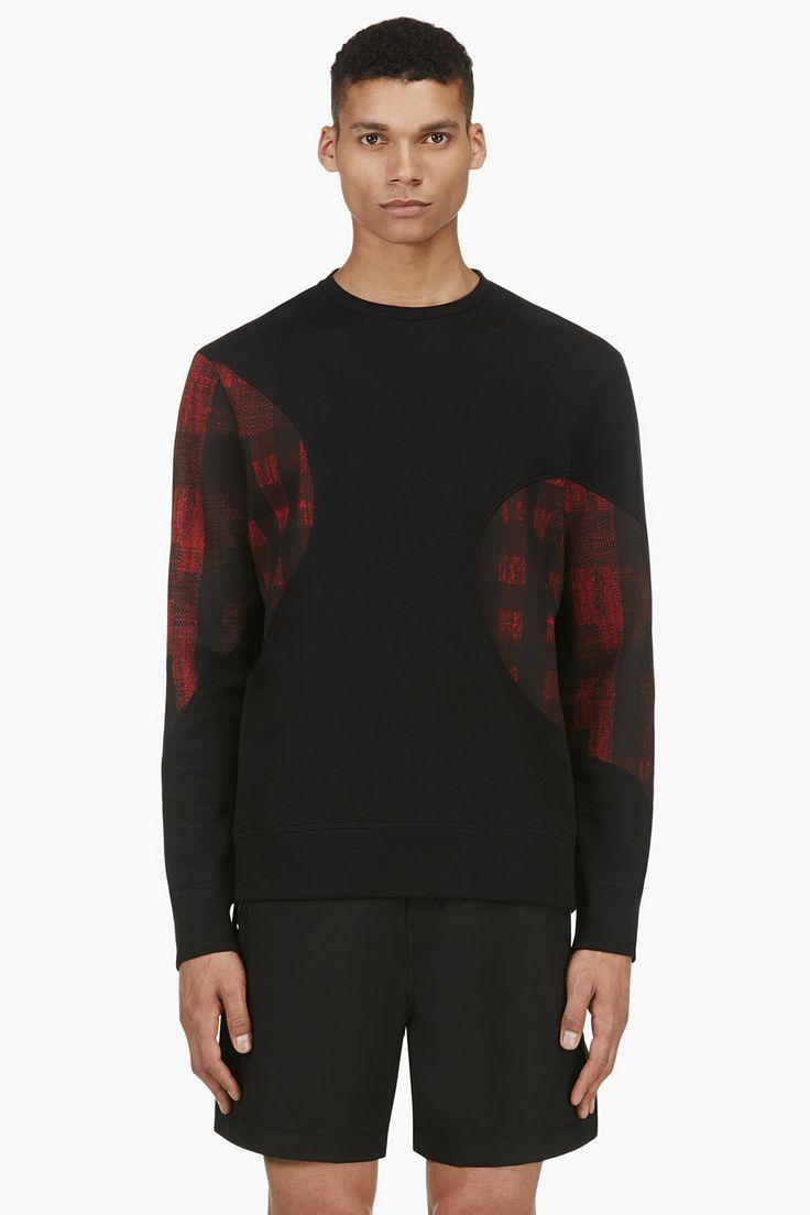 NEIL BARRETT Black & Red Gingham Check Panel Sweater