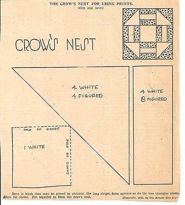 Crow's Nest Quilt Patchwork Original Newspaper Kansas City Star Pattern | Collectibles, Linens & Textiles (1930-Now), Quilts | eBay!