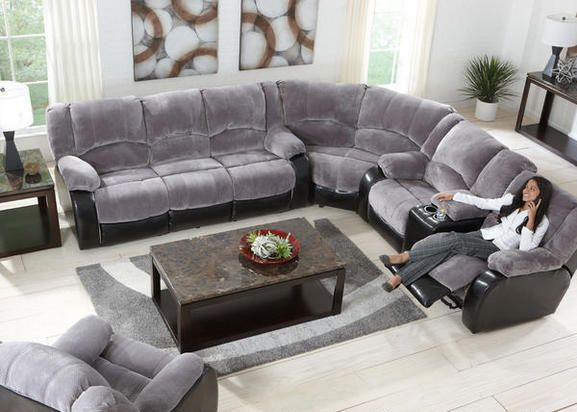 Dynamic Duo Our Devon Gray Sectional Collection Boasts A Dual Arrangement Of Fabrics For